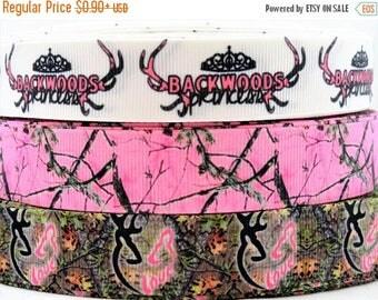 "On Sale 20%off 7/8"" & 1"" Backwood-Camo princess inspired printed grosgrain Ribbon hair bow supplies"