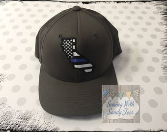 Thin Blue Line Hat, California Thin Blue Line Cap, Police Officer Hat, Police Officer Gift, Law Enforcement Hat, Blue Lives Matter Hat
