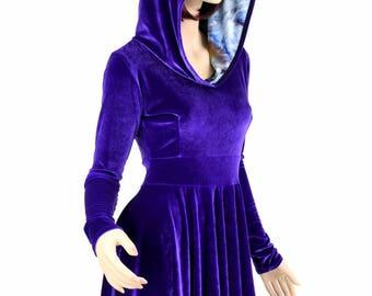 Purple Velvet Long Sleeve Fit and Flare Hoodie Skater Dress w/Swirling Smoke Hood Liner - 154793