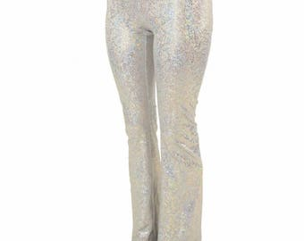 Womens Boot Cut High Waist Leggings in Silver on White Shattered Glass Sparkling Holographic - 154851
