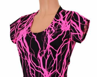 Neon UV Glow PINK Lightning Print Lycra Spandex Bodycon Clubwear Crop Top with Cap Sleeves  -150172