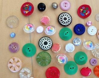SALE Buttons Art Deco Lot of 48 Multi Colored Plastic/Glass 1960s Retro Mod