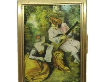 ON SALE! Vintage Photo Album, Victorian Screenprint Scene Compact Picture Book