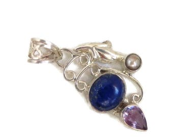 Sterling Silver Pendant - Lapis, Amethyst, Pearl Pendant, Vintage Necklace, Perfect Gift, Gift Box