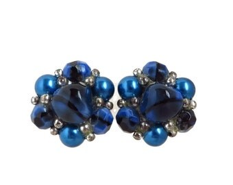 Trifari Blue Cluster Bead Earrings, Vintage Silver Tone Blue & Silver Bead Clip-ons