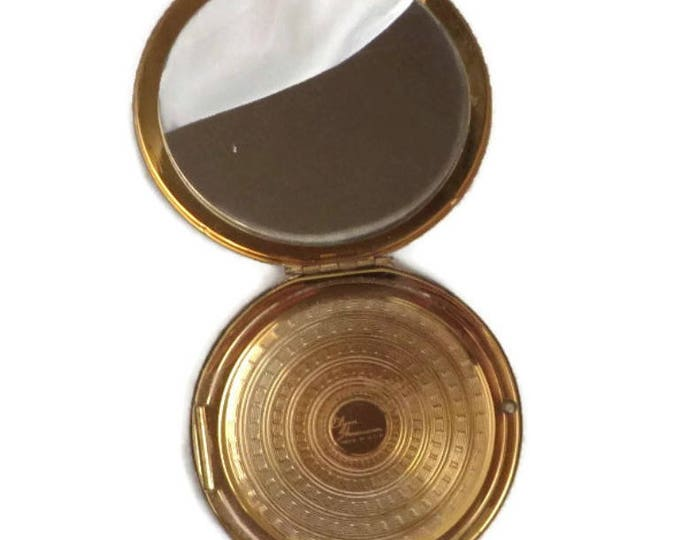 Elgin American Compact - Vintage 1940s Gold Tone Compact, Round Makeup Collectors Compact
