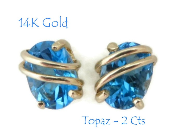 Blue Topaz 14K Gold Earrings, Vintage 2 CT Oval Topaz Pierced Stud Earrings, Perfect Gift  FREE SHIPPING