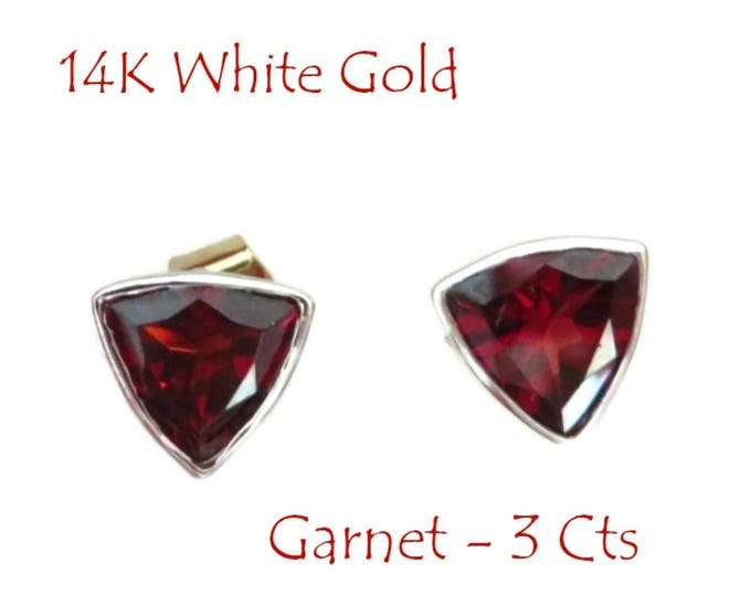 14K White Gold Garnet Studs - Vintage 3 Ct Garnet Triangle Pierced Earrings, January Birthstone, Gift Boxed