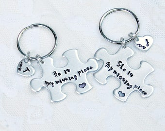 Puzzle Keychain, Couples Gift, Boyfriend Gift, My Missing Piece, Long Distance Gift, Puzzle Pieces, Anniversary Gift, Autism Awareness, Love
