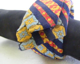 """Repurposed Brocade Neck Tie 2"""" Wide Cuff Bracelet Vintage Jewelry Handmade One of a Kind Free Shipping"""