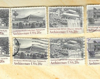 American Modern Architecture Collection  Fallingwater Dulles IIT Gropius House - Vintage Postage Stamps US 1982  B22