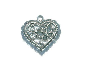 1 charm, pendant, heart charm double sided antique silver metal