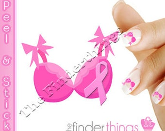 Breast Cancer Awareness Pink Ribbon Bra Support Nail Art Decal Sticker Set RIB109
