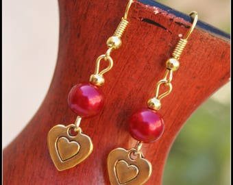 Earrings pearl beads, gold metal, Oreccchini earrings gold earrings