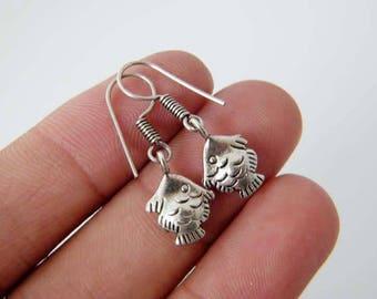 Fish Earrings, Gypsy Earrings, Tribal Earrings, Ethnic Earrings, Dangle Earrings, Bohemian, Silver Plated Fish Jewelry SH-4317