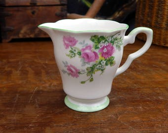 Vintage Floral English Bone China Milk Jug / Creamer