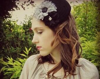 Fascinator, headband, fascinator, mini beret, Shabby chic