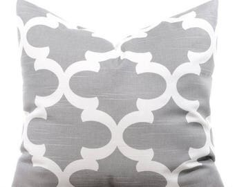 SALE ENDS SOON Gray Throw Pillows, Gray Cushions, Trellis Pillow Covers, Decorative Pillows, Sofa Pillows, Cushion Covers, Toss Pillow