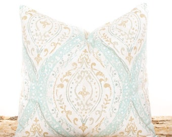 SALE ENDS SOON Seafoam Green Pillow, Brown and Cream Accent Pillow, Sofa Cushion, Shabby Chic Pillows, Soft Cotton Fabric, Seafoam Green