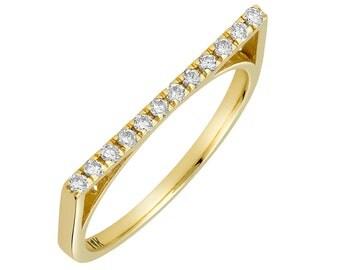Women 1.5mm 14K Gold Wedding Band 0.15 cttw Diamond Pave Set Flat Top Ring(GDR120Y)