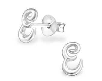 925 Sterling Silver Small Script Initial Letter E Stud Earrings - ES-JB9088