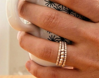 """3 Silver stacking rings - 12 colors - """"Native + Aros"""" - 3 ring set - Stackable"""