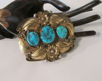 Vintage Sterling and turqioise belt buckle w/ gold filled detail
