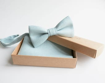 Sea Spray Linen Bowtie - Dusty Shale Bowtie- Pastel Green Bowties - Grey Shades Groomsmen Bowties - Beach Wedding Bowties