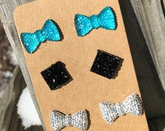 Cabochon Bow charms bow black druzy charms square square druzy charms silver bows blue bows druzy earrings stud earrings glitter bows flat