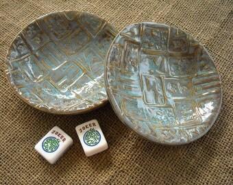 Mahjong Bowls - Blue Mahjong Pottery - Mahjong Gift - Oriental Bowls - Blue Pottery - Gift Idea - Mahjong Tableware