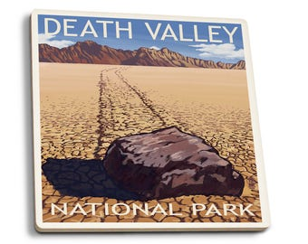 Death Valley Park, CA - Moving Rocks - LP Artwork (Set of 4 Ceramic Coasters)