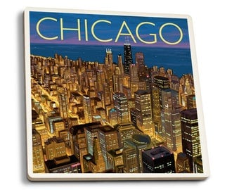 Chicago, IL - Sears Tower Skydeck - LP Artwork (Set of 4 Ceramic Coasters)