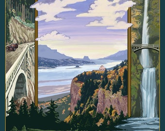 Columbia River Gorge Views - Lantern Press Artwork (Art Print - Multiple Sizes Available)