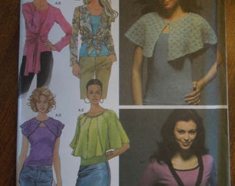 Simplicity 4485, szies 6-14, knit and woven capelet and top variations with knit tank top, UNCUT sewing pattern, craft supplies
