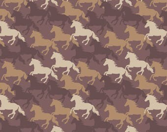 A229.3 - Farley Mount Horse Gallop On Chocolate Lewis & Irene Patchwork Quilting Dressmaking Fabric