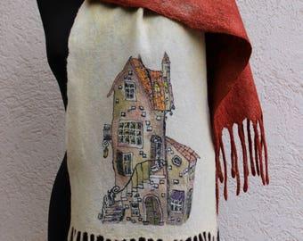 Nuno Felted scarf wool shawl felted shawl felt scarf wool scarf merino wool silk felting art  batik beige red caramel rust sweet home