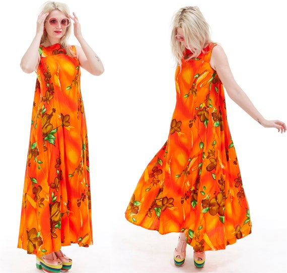 Vtg 70s HAWAIIAN Tropical Floral Maxi House DRESS Empire Cut Psychedelic Hippie Boho Neon RESORT Beach Coverup Festival Batik Draped MuuMuu