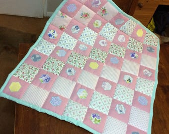 Laura Ashley mint & pink baby quilt, Baby shower gift, shabby chic throw, floral prints blanket, nursery bedding, baby girl gift