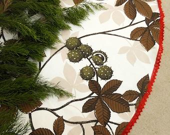 White Christmas Tree Skirt Chestnut Tree Skirt Woodland Christmas Tree Skirt Christmas Decor Scandinavian Christmas Swedish Christmas