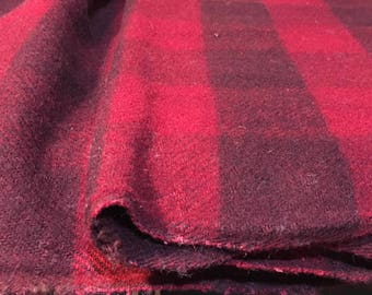 Vintage Red And Black Checkered  Plaid Handloomed Thick Wool - Length 2.00 m