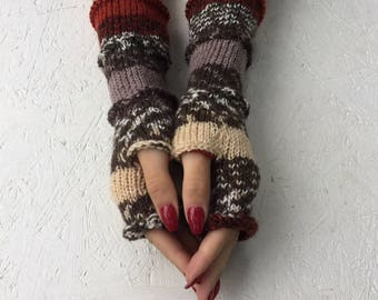 2017 new Knit Fingerless gloves Mittens Long Arm Warmers Boho Glove Women Fingerless Wrist long arm warmers Ready to ship!