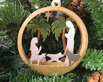 Layered Wood Nativity Ornament