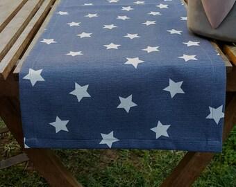 Gray White STARS Table Runner, Premium Cotton table runner, Water Resistant Stain Resistant Runner, Table Cloth, GREY white stars table