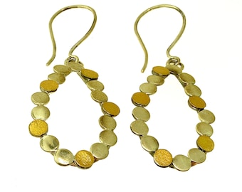 Tear Drop Dots Earrings, Sterling Silver and 18K Gold