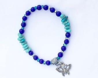 Beaded Friendship Bracelet, Blue Butterfly Stretch Bracelet, Stacking Bracelet, Gift for Her, Turquoise Chips Bracelet, Boho Style Bracelet