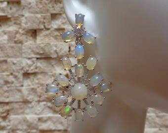 Stunning Opal and Sterling Silver earrings with pave cz