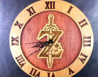Legend of Zelda Breath of the Wild Stained Wood Laser Cut Clock