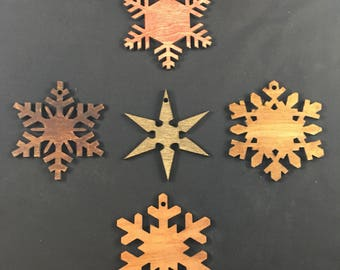 Stained Wood Laser Cut Snowflake Christmas Ornament