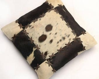 Natural Cowhide Luxurious Patchwork Hairon Cushion/pillow Cover (15''x 15'')a189