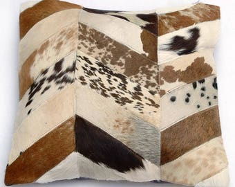 Natural Cowhide Luxurious Patchwork Hairon Cushion/pillow Cover (15''x 15'')a277